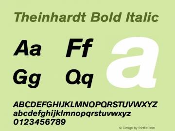 Theinhardt Bold Italic Version 1.000 Font Sample