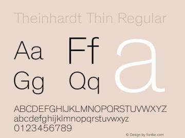 Theinhardt Thin Regular Version 1.000 Font Sample