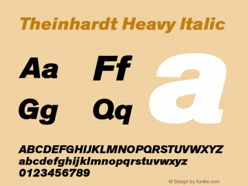 Theinhardt Heavy Italic Version 001.000 Font Sample