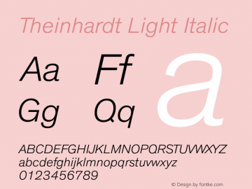 Theinhardt Light Italic Version 1.000 Font Sample