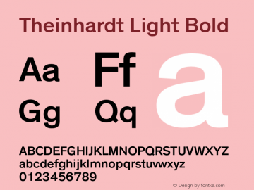 Theinhardt Light Bold Version 001.001 Font Sample