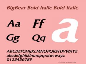 BigBear Bold Italic Bold Italic Unknown Font Sample