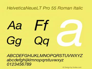 HelveticaNeueLT Pro 55 Roman Italic Version 1.500;PS 001.005;hotconv 1.0.38 Font Sample