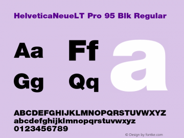 HelveticaNeueLT Pro 95 Blk Regular Version 1.500;PS 001.005;hotconv 1.0.38 Font Sample