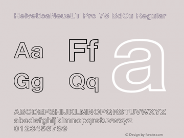 HelveticaNeueLT Pro 75 BdOu Regular Version 1.500;PS 001.005;hotconv 1.0.38 Font Sample