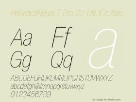 HelveticaNeueLT Pro 27 UltLtCn Italic Version 1.500;PS 001.005;hotconv 1.0.38 Font Sample