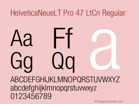 HelveticaNeueLT Pro 47 LtCn Regular Version 1.500;PS 001.005;hotconv 1.0.38 Font Sample