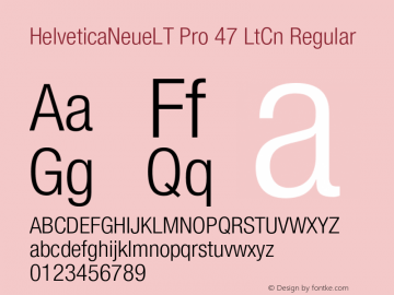 HelveticaNeueLT Pro 47 LtCn Regular Version 1.500;PS 001.005;hotconv 1.0.38 Font Sample
