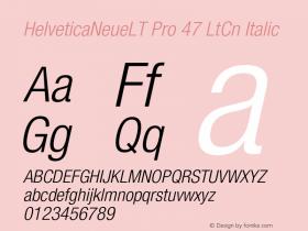 HelveticaNeueLT Pro 47 LtCn Italic Version 1.500;PS 001.005;hotconv 1.0.38 Font Sample