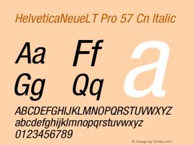 HelveticaNeueLT Pro 57 Cn Italic Version 1.500;PS 001.005;hotconv 1.0.38 Font Sample