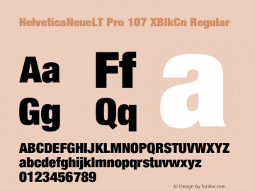 HelveticaNeueLT Pro 107 XBlkCn Regular Version 1.500;PS 001.005;hotconv 1.0.38 Font Sample