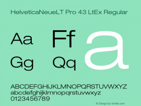HelveticaNeueLT Pro 43 LtEx Regular Version 1.500;PS 001.005;hotconv 1.0.38 Font Sample