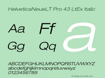 HelveticaNeueLT Pro 43 LtEx Italic Version 1.500;PS 001.005;hotconv 1.0.38 Font Sample