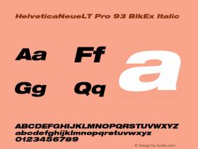 HelveticaNeueLT Pro 93 BlkEx Italic Version 1.500;PS 001.005;hotconv 1.0.38 Font Sample