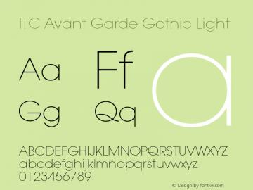 ITC Avant Garde Gothic Light Version 001.000 Font Sample