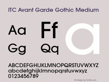 ITC Avant Garde Gothic Medium Version 001.000 Font Sample