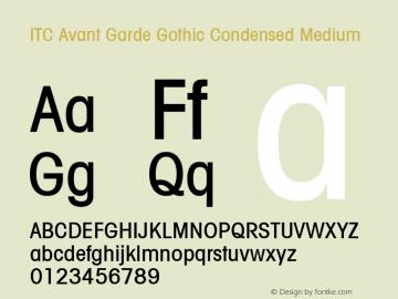 ITC Avant Garde Gothic Condensed Medium Version 001.001 Font Sample