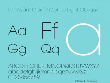 ITC Avant Garde Gothic Light Oblique Version 001.000 Font Sample