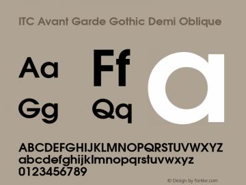 ITC Avant Garde Gothic Demi Oblique Version 003.001图片样张