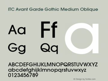 ITC Avant Garde Gothic Medium Oblique Version 001.000 Font Sample