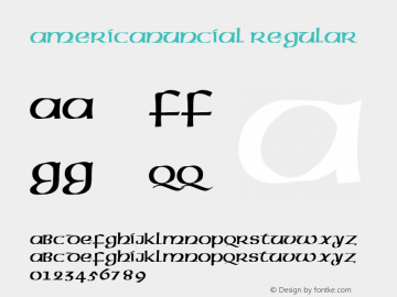 AmericanUncial Regular Altsys Fontographer 3.5  4/14/93 Font Sample