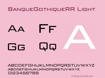 BanqueGothiqueRR Light 001.004 Font Sample