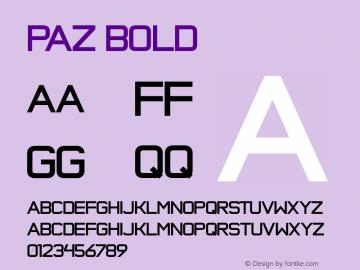 Paz Bold Version 001.001 Font Sample