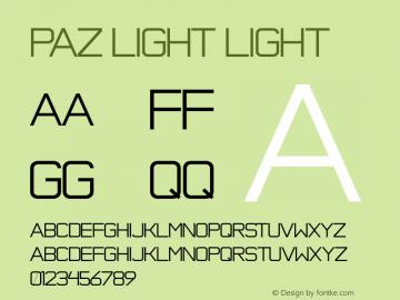 Paz Light Light Version 001.001 Font Sample
