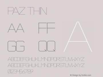 Paz Thin Version 001.001 Font Sample