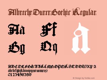 AlbrechtDurerGothic Regular 001.001 Font Sample