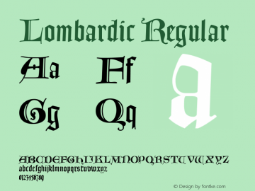 Lombardic Regular Macromedia Fontographer 4.1.3 31.12.2001 Font Sample