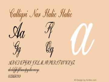 Calligri Nar Italic Italic Version 1.000图片样张
