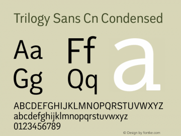 Trilogy Sans Cn Condensed 1.000 Font Sample