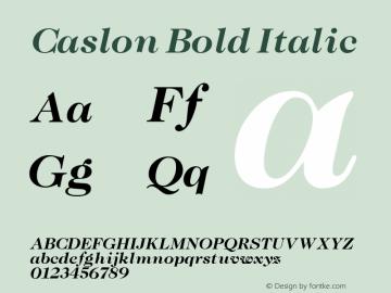 Caslon Bold Italic Altsys Fontographer 3.5  11/25/92 Font Sample