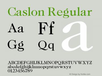 Caslon Regular Altsys Fontographer 3.5  11/25/92 Font Sample