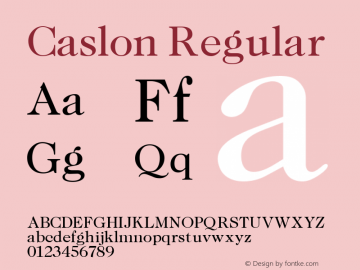 Caslon Regular Altsys Fontographer 3.5  11/6/92 Font Sample