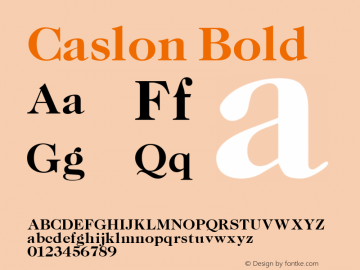 Caslon Bold Altsys Fontographer 3.5  11/6/92 Font Sample