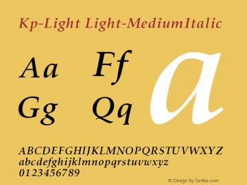Kp-Light Light-MediumItalic Version 001.000 Font Sample