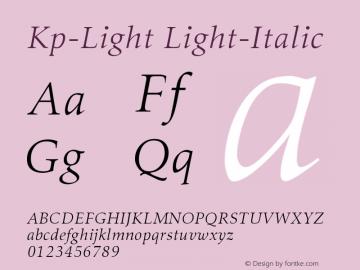 Kp-Light Light-Italic Version 001.000 Font Sample