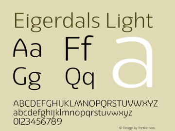 Eigerdals Light Version 3.000 Font Sample