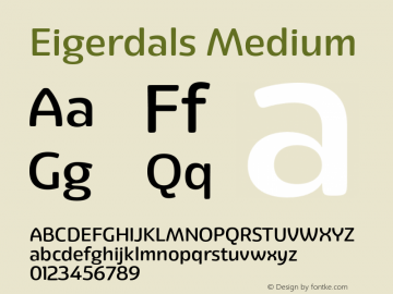 Eigerdals Medium Version 3.000 Font Sample