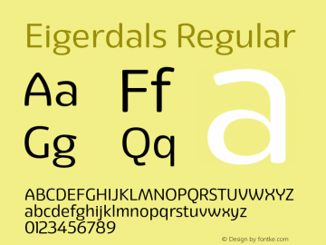 Eigerdals Regular Version 3.000 Font Sample