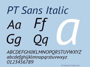 PT Sans Italic Version 2.002 Font Sample