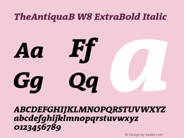 TheAntiquaB W8 ExtraBold Italic Version 1.005 Font Sample