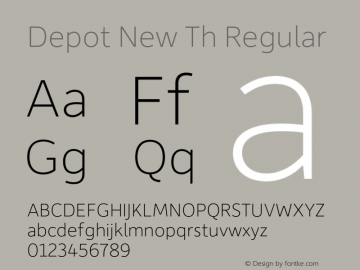 Depot New Th Regular Version 2.000 Font Sample