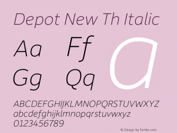 Depot New Th Italic Version 2.000 Font Sample