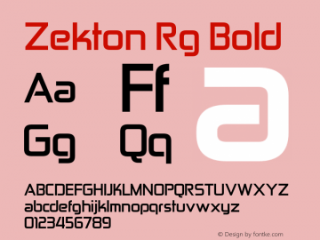 Zekton Rg Bold Version 4.001 Font Sample
