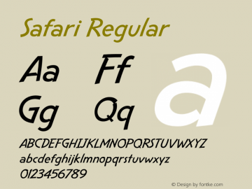 Safari Regular Version 2.0 Font Sample