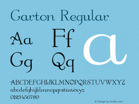 Garton Regular Altsys Metamorphosis:5/9/92 Font Sample