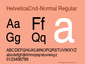 HelveticaCnd-Normal Regular Converted from C:\EMSTT\ST000018.TF1 by ALLTYPE Font Sample